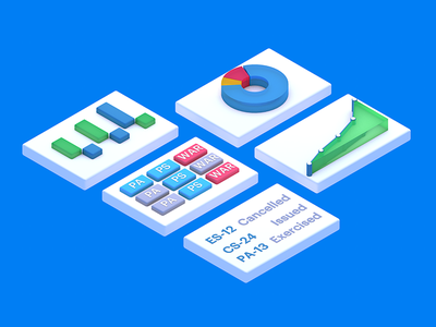 Isometric Overview interface app technology software finance financials isometric geometric graphs charts enterprise