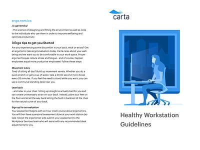 Healthy Workstation women animated screen illustration working computer sitting ergonomic workstation