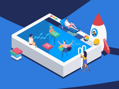 Summer Time isometric people swim summer pool user interface ux ui app flat