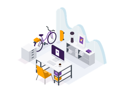 The Workspace flat illustration vector minimalistic isometric environment technology space office working workspace