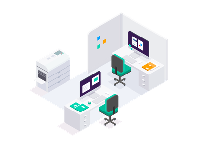 The Office app isometric working workspace technology vector office illustration flat environment