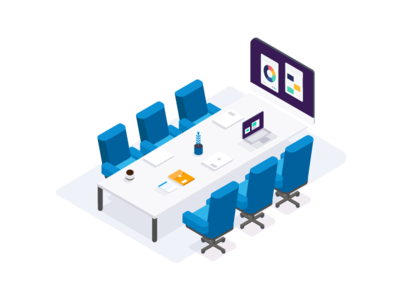 The Board Room illustration app flat technology vector working office isometric workspace boardroom meeting board