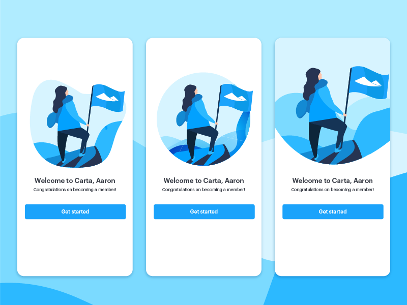 Welcome Screen app mobile screen ui  ux interface financial carta fintech flag mountain people illustration onboarding ui