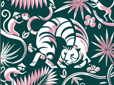 Tiger branding illustration pattern