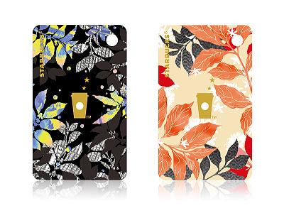 Starbucks Mini Coffee Leaf Card reward set. design card illustration