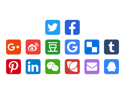 Social Icon google linkedin qq email douban weichat weixin weibo facebook twitter icon