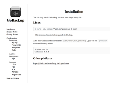GoBackup Document Page document
