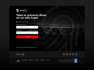 ⚽ River ID | Login river river plate login login page football club football landing page web ui design argentina