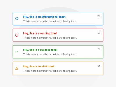 LANA's Toasts toast message alert la nacion web app design toasts