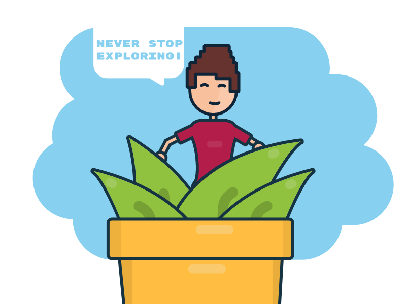 Never Stop Exploring adventure jungle explore minimal pot flower illustration flat 2d arrietty