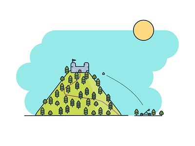 Castle on the hill catapult sun 2d illustration minimal flat tree hill castle