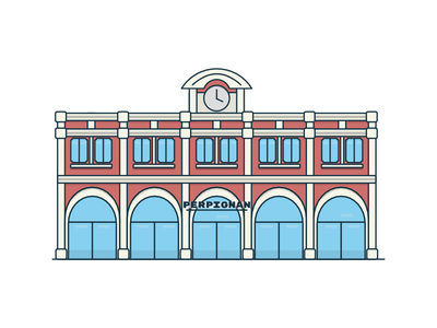 Perpignan Train Station flat minimal 2d illustration railroad perpignan station train