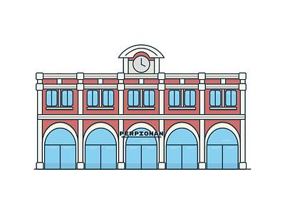 Perpignan Train Station flat minimal 2d illustration railroad perpignan station train