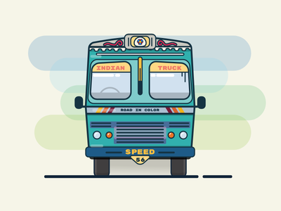 Green Indian Truck speed drive slow road way asia vehicle minimal 2d illustration flat colorful