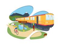 Yellow Train Bike poster
