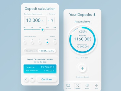 Deposit Calculation 2020 trend calculation calculator chart dashboard interface blue balance deposit white minimalistic app mobile interaction skeumorphism neomorphism banking app finance ux ui