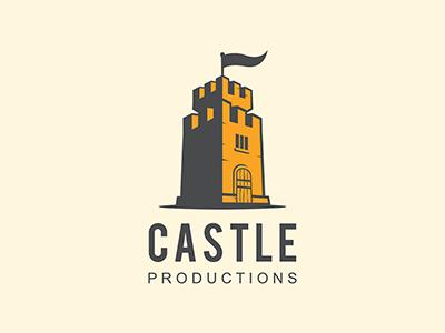 castle productions yellow bold concept branding illustration brand castle vintage logo