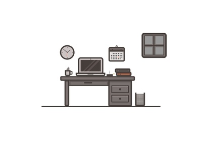 Desk Scenery Illustration