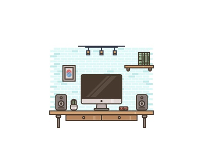 Desk Setup Illustration