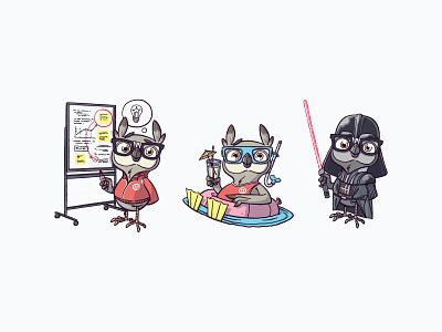 Owl cartoon flipboard swimsuit darth vader owl denyloba character design mascot