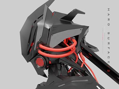 hard surface 2 3d character modeling futuristic sci-fi mecha robot render blender hard surface