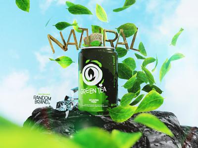 tea flavoured soda ice packaging beverage mountain natural green branding label leaf illustration poster ad 3d blender tea product can soda