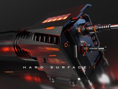 Hard surface 1 rework gun product futuristic machinery robot render weapon 3d blender hard surface