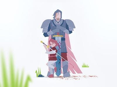 Arya and The Hound illustration got fantasy sword game of thrones flat assassin sandor clegane the hound arya