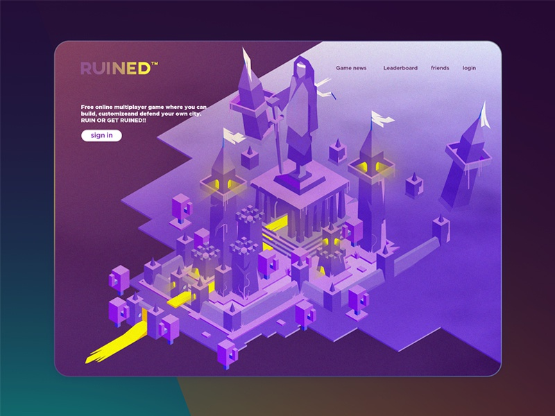 Isometric kingdom ( night version ) light illustration castle ruins kingdom greece game city isometric landing page