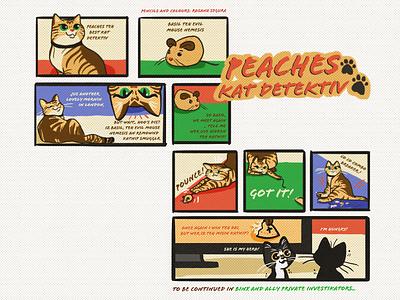 Peaches comic detective black cat cat toy cat crazy cat cat art comic comic art design line art illustration