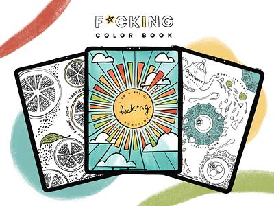 F Color book digital book digital color book tea sunshine artwork art lines book design color book line art illustration ilustrar