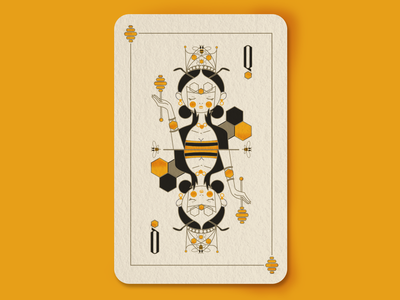 The queen of the bees insects anthens line art royalty crown design vector queens illustration deck of cards cards playing cards queen of hearts queen bee honey bee honeycomb honey bees bee hive queen