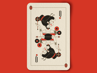 Queen of the Ladybugs line art anthens vector queens royalty playing cards dots lady bugs illustration cards crown design deck of cards insects bugs ladybugs queen