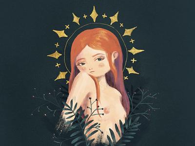 Like a Virgin nature readhead halo nudity nipples woman saint virgin canvas texture photoshop digital painting design illustration
