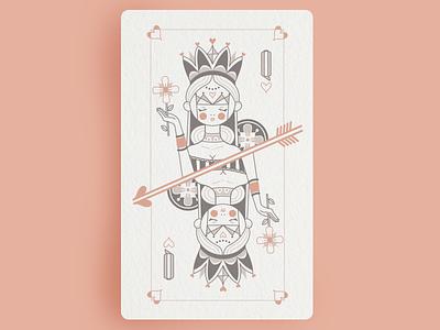 Queen of hearts arrow queens design woman queen vector line art playing cards illustration deck of cards crown cards queen of hearts hearts
