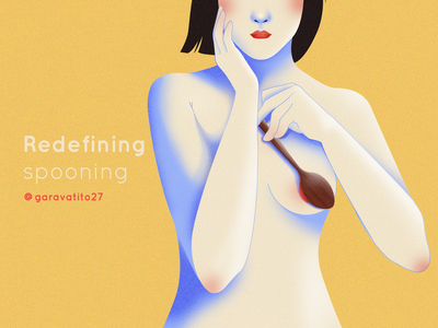 Redefining Spooning mexican illustrator mexican boobs hands noise texture body woman portrait spooning women womans woman illustration sexy sexuality spoon woman design line art vector illustration