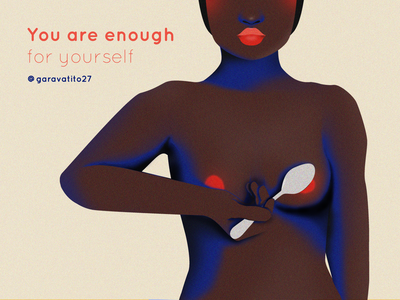 You are enough sexy sexuality hand feminist femininity love body positive texture spooning spoon red lips boobs nipples skin black woman woman vector design line art illustration