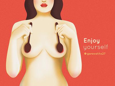 Enjoy yourself skincare skin love font sexy spoon women in illustration women body texture hands latina boobs body positive feminist design line art woman vector illustration