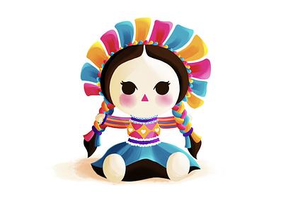 María maría artesanal colorful design mexico city mexico girl folkart mexican ribbons cute illustration trapo muñeca doll