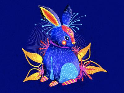 Conebrije neon colors neon colors colorful character design art drawing photoshop mexico artesanía creatures fantasy rabbit animal mexican illustration alebrije