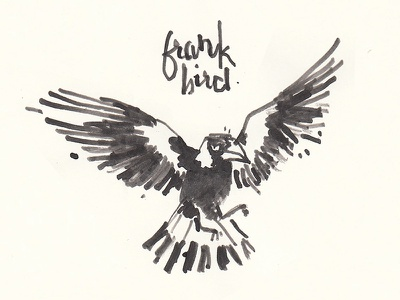 Frank Bird ink stone ink stick bird magpie ink illustration lettering