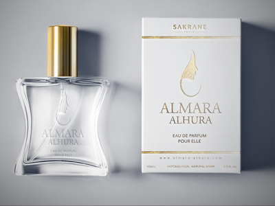 Almara Alhura | Perfume Branding french paris fragrance perfume gold arab dubai packaging illustration logo design branding advertising