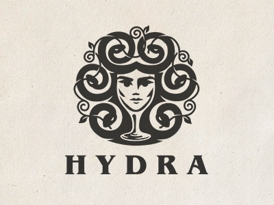 hydra illustration brewery pattern logo character snakes girl face glass beer