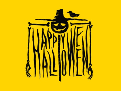 Scarecrow emblem sign logo halloween логотип crow хэллоуин пугало mascot design character scarecrow