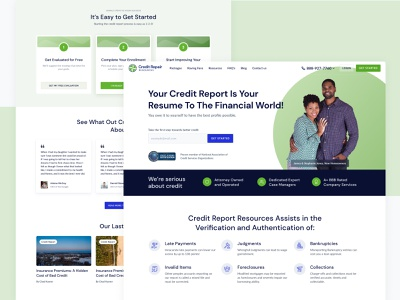 Credit Report Repair hero image couple minimalism green homepage credit finance agency website landing design ui