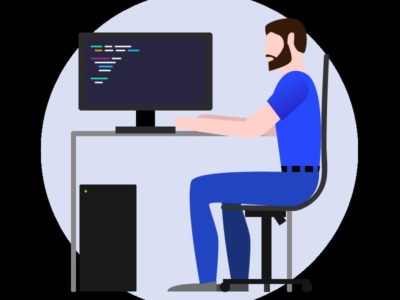 Dev Guy flat vector web ux design illustration