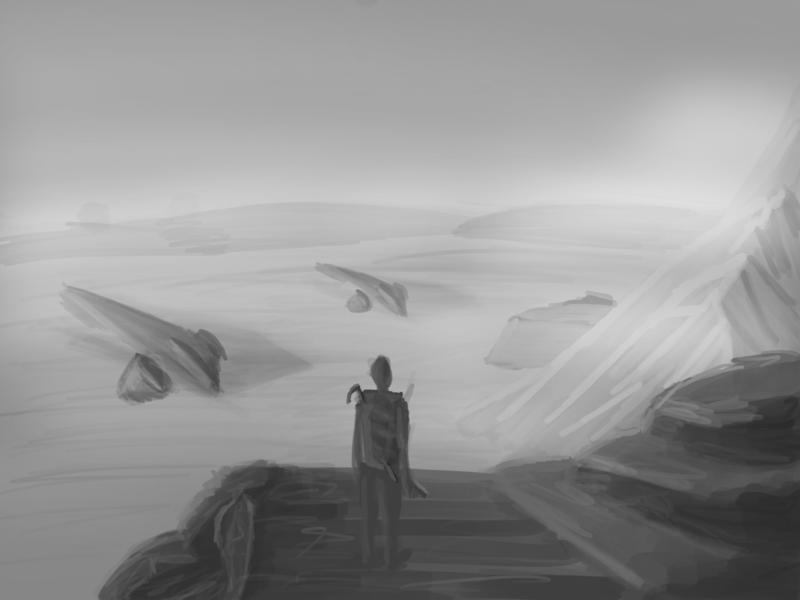 Overlook sci-fi grayscale concept art illustration