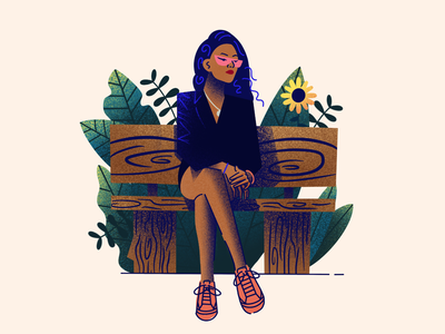 Just chilling. texture flat design illustration woman girl park bench plants flower fashion diversity character people