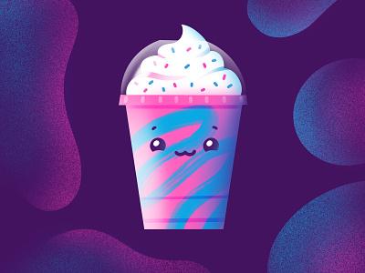 Unicorn Frappuccino texture illustration illustrator procreate caffeine cute neon blue pink unicorn coffee