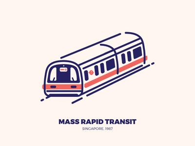 Mass Rapid Transit (MRT) singapore illustration illustrator vector transport train trains